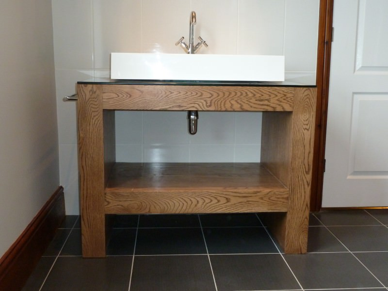 Glass Sink Unit : 002 oak sink unit with glass top - Stump Furniture
